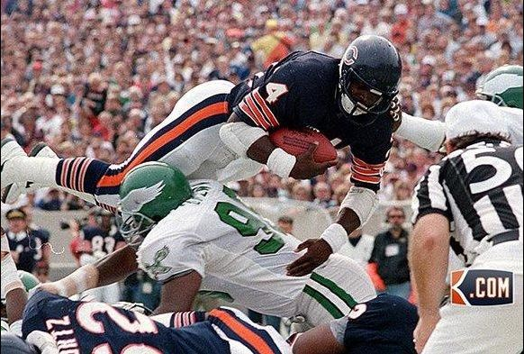 "Chicago Bears' Walter Payton, scoring his 100th NFL touchdown. No wonder they called him ""Sweetness"""